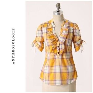 Anthropologie Odille Sunday Supper Yellow Plaid